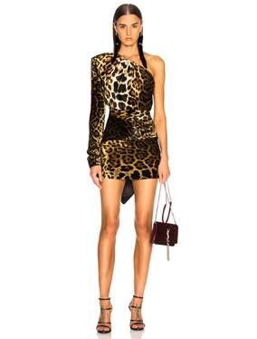 Velvet Leopard Print One Shoulder Draped Mini Dress