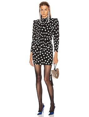 Long Sleeve Polka Dots Mini Dress