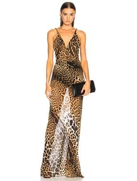 Georgette Leopard Print Gown