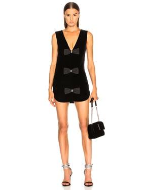 Velvet Sleeveless Bow Front Dress