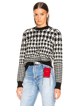 Mixed Houndstooth Jacquard Sweater