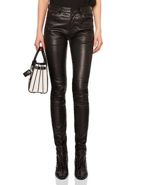 Stretch Leather Mid Rise Pants