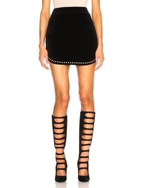 Studded Velvet Mini Skirt