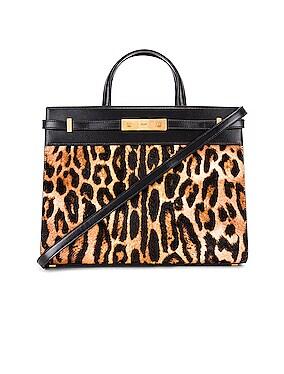 Leopard Calf Fur Manhattan Shoulder Bag
