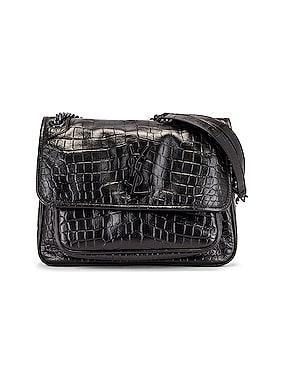 Medium Niki Embossed Croc Monogramme Shoulder Bag