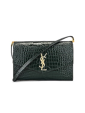 Embossed Croc Monogramme Chain Wallet Bag