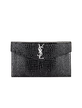 Medium Uptown Embossed Croc Envelope Clutch