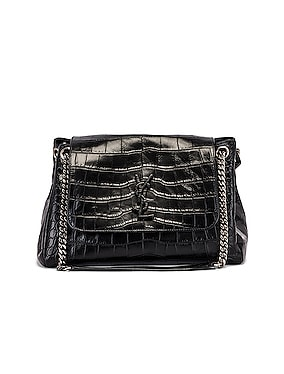 Medium Nolita Embossed Croc Monogramme Shoulder Bag