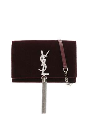 Crystal Logo Velvet Kate Tassel Chain Wallet