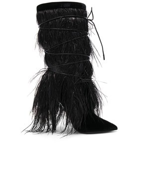 Era Feather Embellished Velvet Yeti Boots