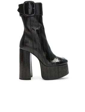 Eel Leather Billy Platform Buckle Ankle Boots