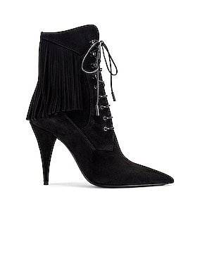 Kiki Lace Up Fringe Ankle Booties