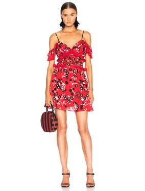 Cold Shoulder Floral Print Mini Dress