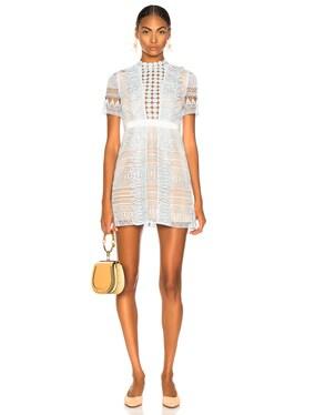 Spiral Panel Lace Mini Dress
