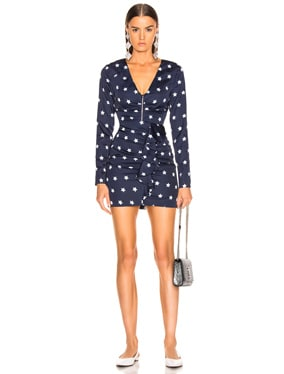 Star Printed Long Sleeve Dress