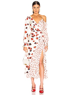 Asymmetric Floral Printed Dress