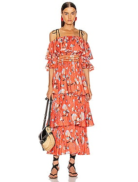 Pleated Botanical Midi Dress