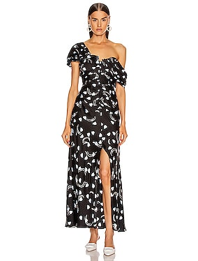 Abstract Geo Print Off Shoulder Dress
