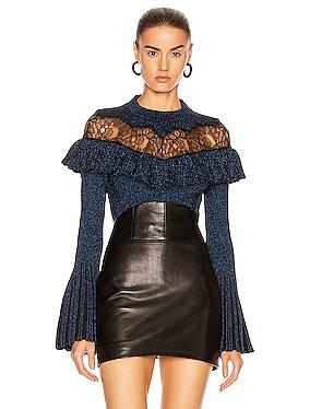 Lurex Fine Lace Panel Knit