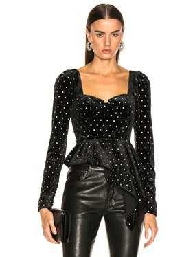 Asymmetric Velvet Diamante Top