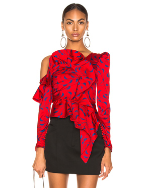 Printed Red Frill Top