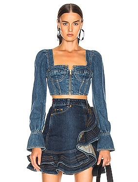 x Lee Denim Bustier Top