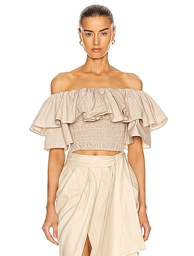 Ruffle Off Shoulder Cotton Poplin Top
