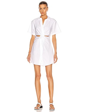 Crisp Poplin Mini Shirt Dress