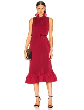 Pleated Sleeveless Dress with Belt