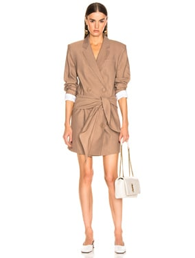 Linen Suiting Blazer Dress With Detachable Tie