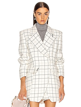 Windowpane Peaked Lapel Blazer