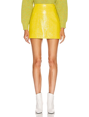 Croc Embossed Patent Mini Skirt