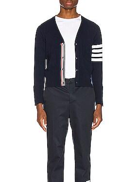Cashmere Cardigan with Bar Stripe Sleeve