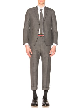 Classic Gingham Cool Wool Suit with Tie