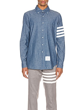 Straight Fit Button Down Long Sleeve Shirt