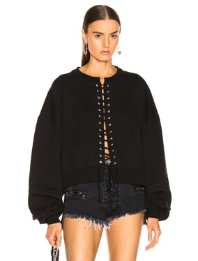 Terry Lace Up Crew Sweater