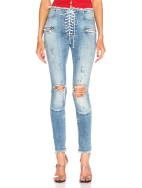 Lace Up Vintage Denim Skinny