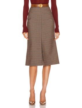 Fitted Box Pleat Midi Skirt