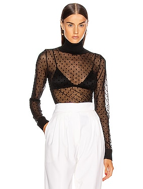 Sheer Polo Neck Top