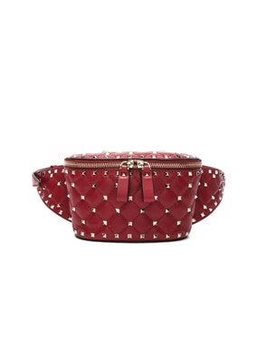 Small Quilted Rockstud Spike Belt Bag