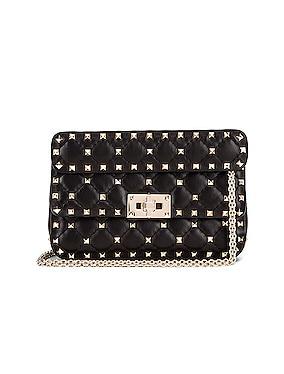 Rockstud Leather Spike Chain Shoulder Bag