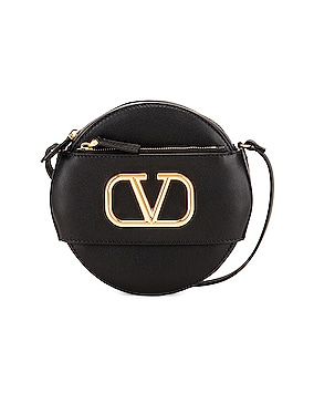 V Logo Circle Crossbody Bag