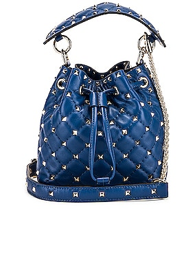 Rockstud Leather Spike Bucket Bag