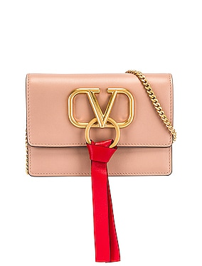 V Logo Ribbon Crossbody Bag