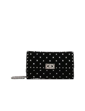 Rockstud Spike Velvet Shoulder Bag