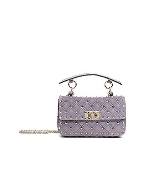 Small Rockstud Spike Velvet Shoulder Bag