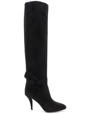 Suede Bow Knee High Boots