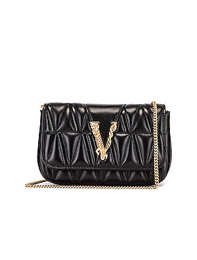 Quilted Leather Tribute Rectangle Crossbody Bag