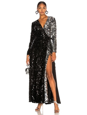 Contrast Sequin Wrap Dress