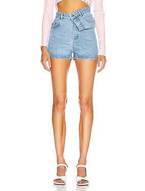 Asymmetric Denim Shorts